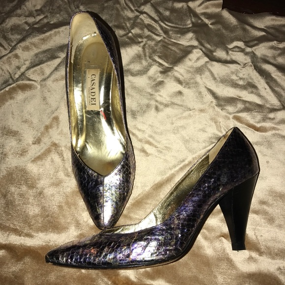 b4fe1c1b974 Vintage Casadei metallic python heels sz 9.5